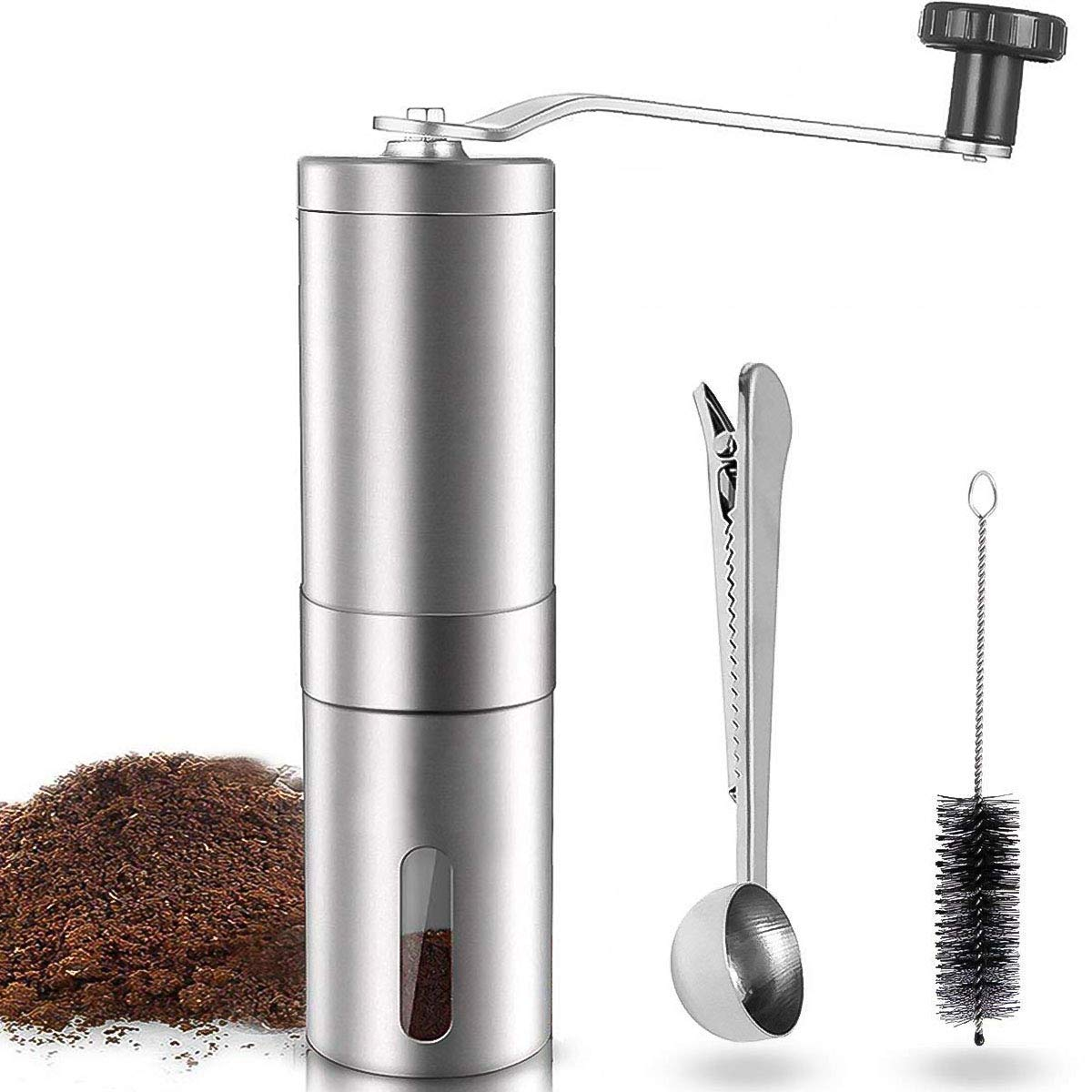 Manual Coffee Grinder, LHS Adjustable Ceramic Conical Burr Brushed Stainless Steel Coffee Beans Manual Grinder Portable Travel and Handheld Mini Coffee Mill with Spoon & Clean Brush