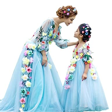 c3e3e1dc0 Kiccoly Matching Family Dress Mother and Daughter Special Occasion Elegant  For Wedding Dress S Blue