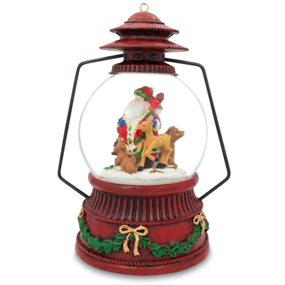 7.5'' Red Lantern with Santa and Forest Animals Music Snow Globe