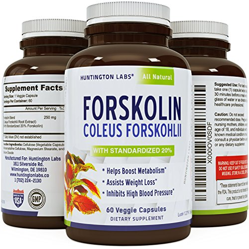 Coleus Forskholii - Pure Forskolin Root Extract Pills - Natural Diet Pills - Herbal Weight Loss Fat Burner - Metabolism Booster for Men and Women - 60 veggie capsules - By Huntington Labs - Forskohlii Root Extract