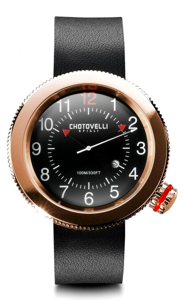 Chotovelli Gauge Men's Watch Rose Gold Alfa Romeo dial Black leather Strap 40.05
