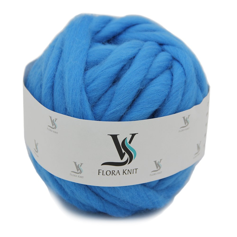 Merino Wool Super Chunky Yarn- Bulky Roving Yarn for Finger Knitting,Crocheting Felting,Making Rugs Blanket and Crafts by FLORAKNIT (Aquarius, Chunky-40mm-1.1LB)