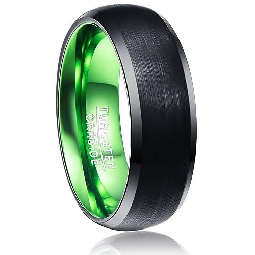 6b1d2db757fd vakki 8 mm carburo de tungsteno Anillo de boda banda para hombres mujeres  verde negro biselado cepillado pulido acabado tamaño 7 - 12  Amazon.es   Joyería