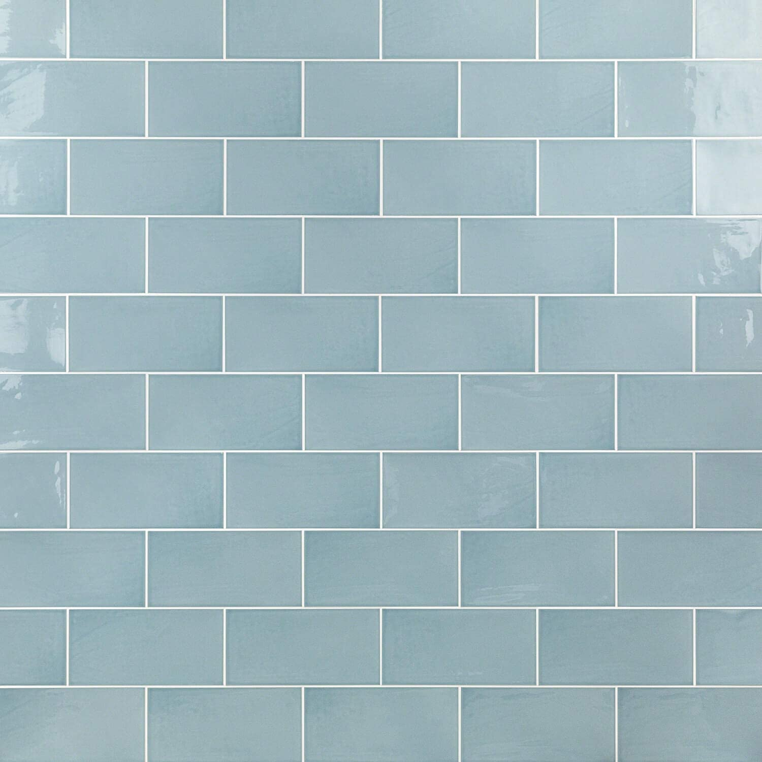 "Barbados Light Blue 8"" x 8"" Polished Ceramic Subway Wall Tile (8"