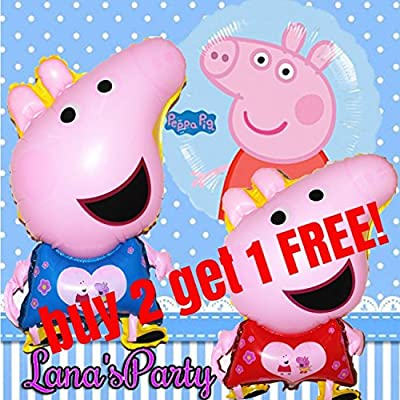 3 Piece Peppa Pig & George Happy Birthday Balloon Disney decor supply: Toys & Games
