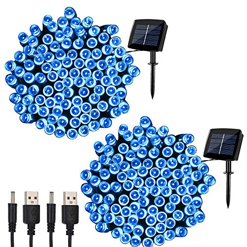 Blue Solar Christmas Lights Outdoor in US - 7