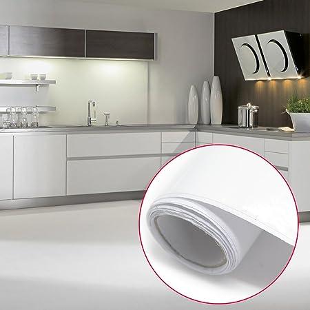 Reelva White Gloss Self Adhesive Plastic Kitchen Wallpaper Cupboard Doors  Wall Draws Wardrobe Cover Gloss Matt