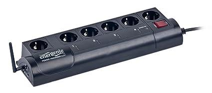 EnerGenie EG-PMS2-WLAN programmierbare IP-Steckdosenleiste (6-fach, Überspannungsschutz, WLAN-Schnittstelle) schwarz