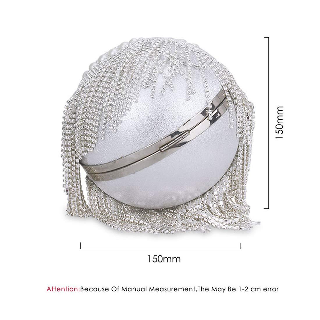 Women Pearl Beaded Crystal Party Evening Bag Bridal Wedding Round Ball Wrist Bag Round Clutch Purse Handbag