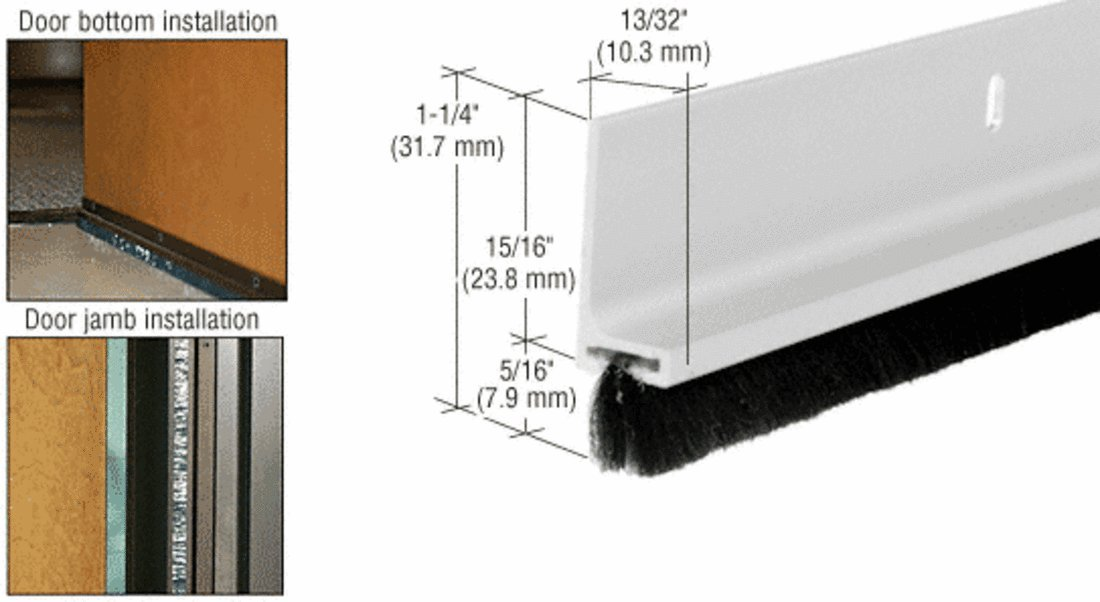 CRL Aluminum Finish Finned Door Sweep - 12 ft long