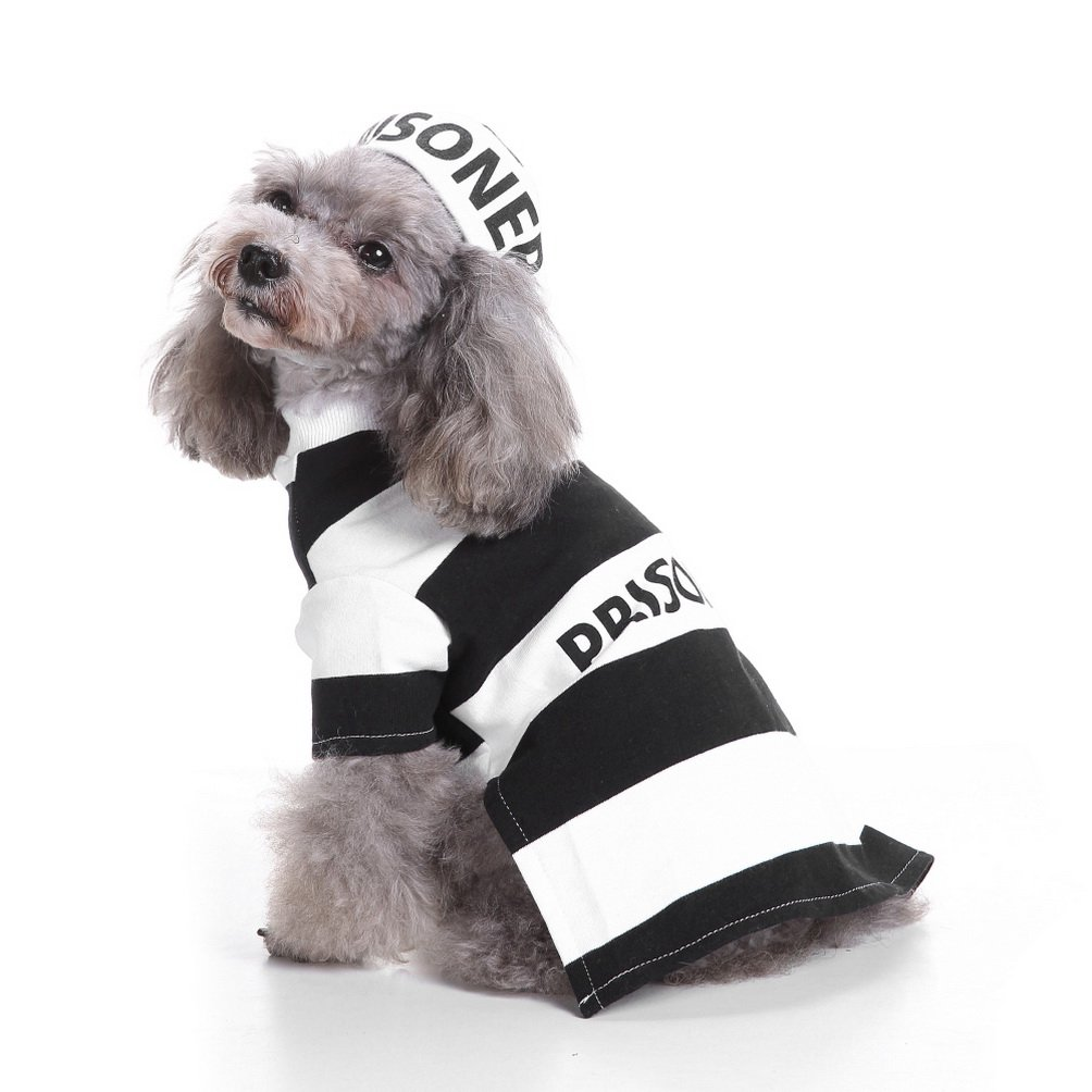 SELMAI Halloween Pet Puppy Prisoner Costume with Hat,Pooch Party Cosplay Shirt for Small Dog Cat Fancy Coat Jacket Outfits Clothes M