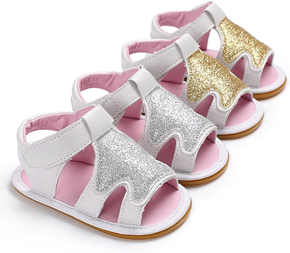 Soft Sole Low Tube Baby ShoesInfant Toddler Summer Sandals Footwear for Newborn Baby Girl Silver 0-3M