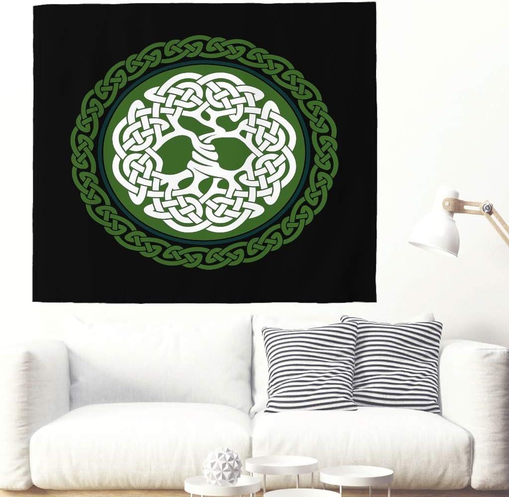 Tapisserie murale ethnique celtique arbre de vie Totem Tapisserie Stammes Yggdrasil Grande tenture murale en fr/êne nordique Mythologie Arbre de vie 150x130cm White