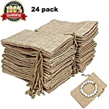 24 Pack Natural Burlap Bags with Drawstring Reusable Linen Pouches Perfect for Jewelry Pouch, Wedding Birthday Parties Favor Gift Candy Bags