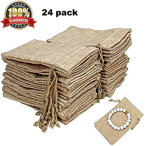 24 Pack Natural Burlap Bags with Drawstring Reusable Linen Pouches Perfect for Jewelry Pouch, Wedding Birthday Parties Favor Gift Candy Bags by Yinmall