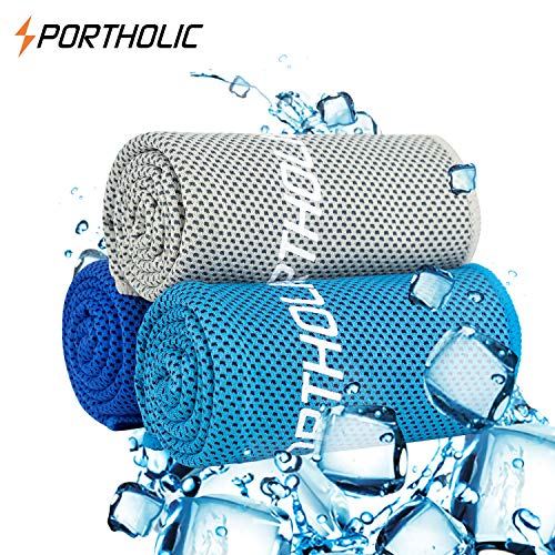 PORTHOLIC Cooling Towel for Running Hiking Cycling Super Cold Absorbent Breathable Microfiber Soft Dry Cloth 100% Chemical Free Instant Cooling Ice Relief Staying Cool for Outdoor Sports