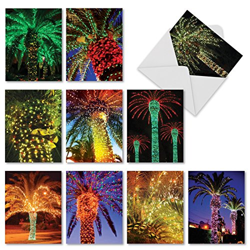 Holiday Palms' Christmas Cards, Boxed Set of 10 Palm Trees Decorated in Christmas Lights Seasonal Greeting Cards 4 x 5.12 inch, Festive Island Trees Holiday Notes, Lit Up Palm Tree Cards, M2273