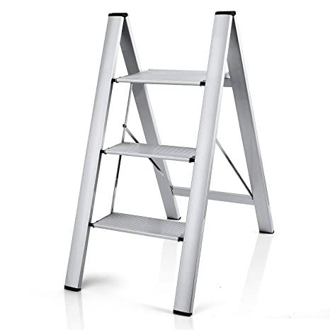 Super 2 In 1 Lightweight Aluminum 3 Step Ladder Stylish Invisible Beatyapartments Chair Design Images Beatyapartmentscom