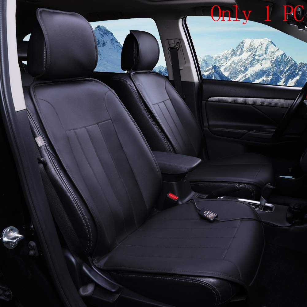 KINGLETING 12-Volt Heated Seat Cushion with Intelligent Temperature Controller(Wide,Black)
