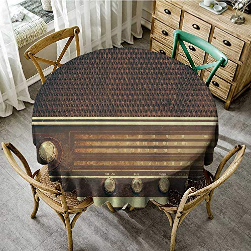 (familytaste Outdoor Tablecloth Vintage Decor,Old Antique Retro 60s Radio Music Player Loudspeakers Buttons Image,Brown and White D 60