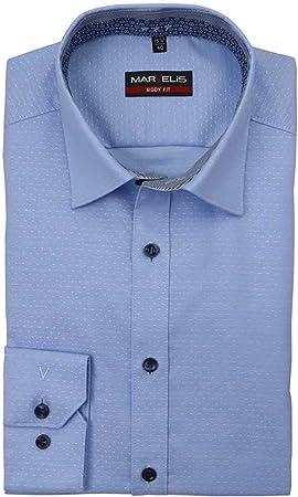 Marvelis Body Fit Camisa extra larga manga New Kent cuello patrón azul