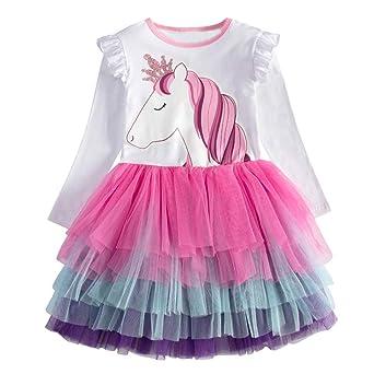 VIKITA Vestito Ricamo Animali Principessa Tulle Tutu Senza Maniche Bambina 2-8 Anni