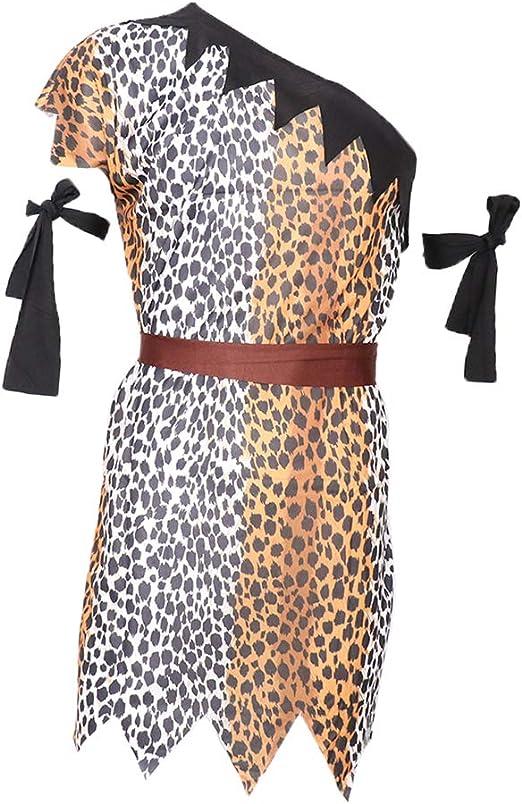 B-Mujer P Prettyia Traje de Disfraces de Cavern/ícola con Rodilleras Estampado Leopardo Mangas Cortas Juego de Pretender para Hombre Mujer Tal como se Describe