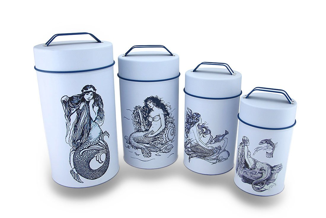 amazon com metal canisters 36944 4 piece blue white mermaid amazon com metal canisters 36944 4 piece blue white mermaid print nesting metal canister set 5 25 x 10 x 5 25 inches white home kitchen