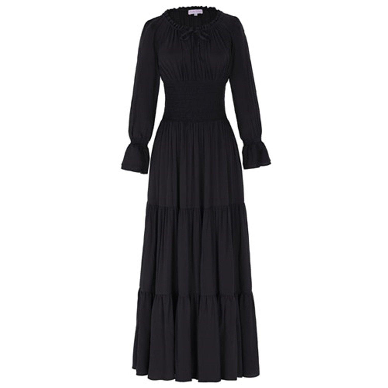 Mildred Jones Dress Cotton Long Maxi Dresses Gothic Vintage Long Sleeve Dress Womens