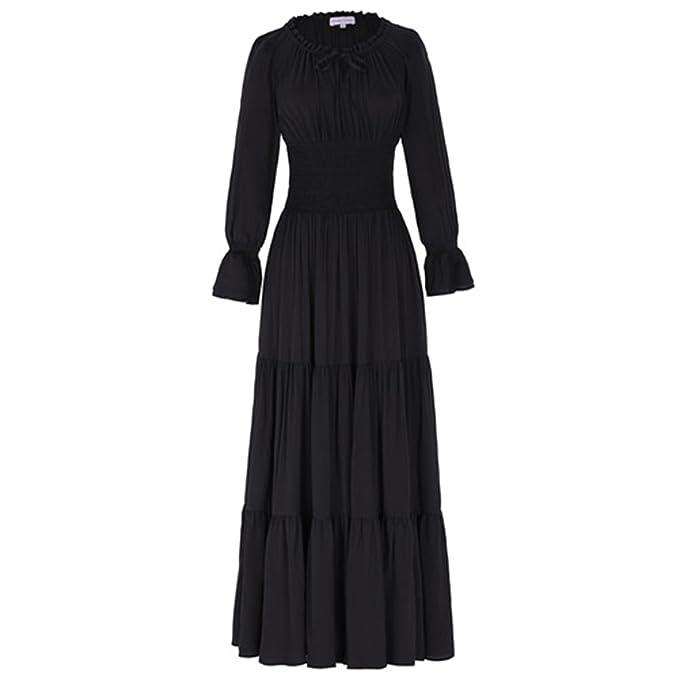 Amazon.com: Angelia Daugh New Medieval Vestido de algodón ...