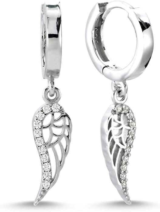 Amazon.com: 925 Sterling Silver Angel Wing Earrings for Women, Cubic Zirconia CZ Rhodium Plated Small Round Huggie Hoop Angel Earrings for Women: Clothing