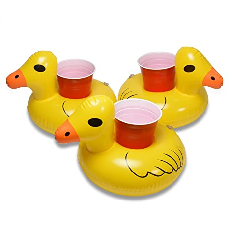 GoFloats Hinchable Pato Drink Holder (3 Pack), Flotador Tus Bebidas en Estilo