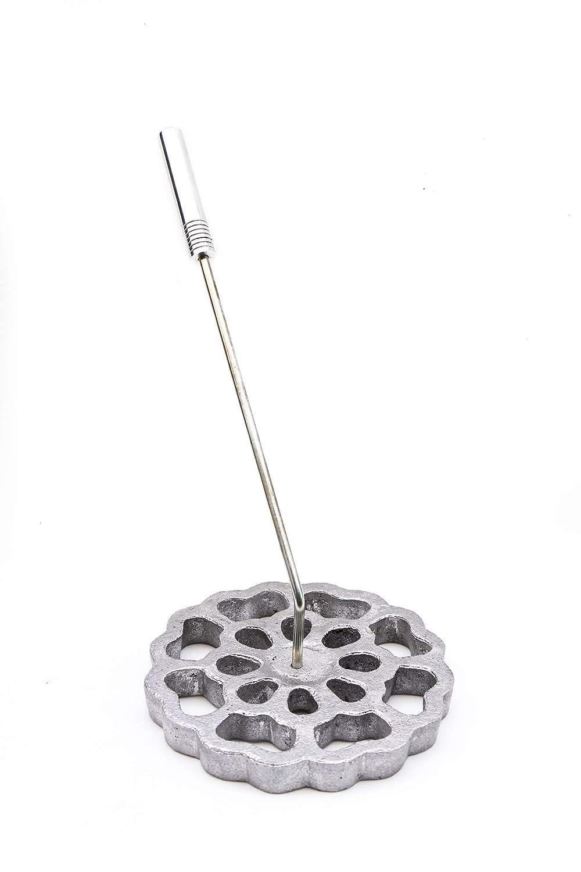 Bunuelera Mexicana de Molde, Rustic Aluminum detachable handle Cast Aluminum, Iron metal alloy, Bunuelos de Viento Tradicional Flor Rosette Design mold para hacer Bunuelos 5.5', 14 cm DBM