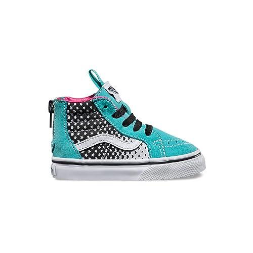 09bc264032 Vans Girls Heart Fade Sk8-Hi Zip Shoe, Aqua Sky/True White, 2 Little ...