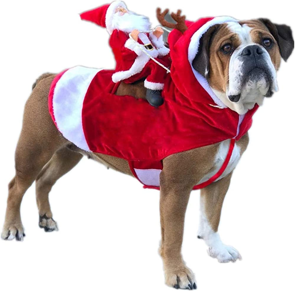 Amazon.com: Dog Pet Christmas Costume Santa Riding on Dog Cat Xmas