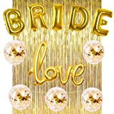 Bachelorette Party Decorations Kit Bridal Shower Kit - All in ONE Package- 5PCS Confetti Balloons, Bride Foil Balloons,Love Foil Balloon,Gold Foil Fringe Curtain (Love)