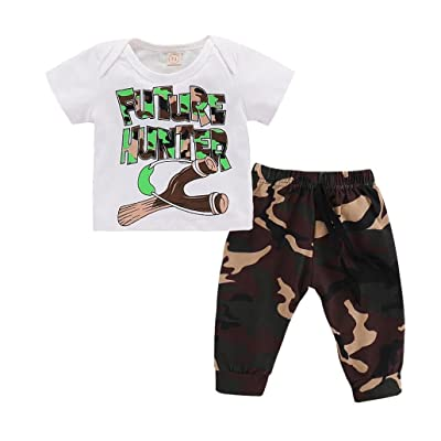 Kehen Infant Baby Boy Future Hunter Short Sleeve T-Shirt Top + Camo Pants 2pcs Summer Clothes Causal Outfit