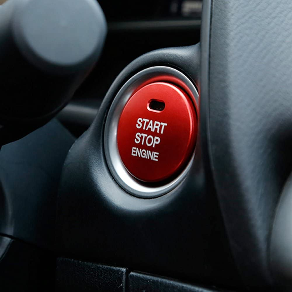 Car Car Engine Start Stop Button Cover Carbon Fiber Keyless Go Ignition Start Button Trim Cover Stickers Fit for Mazda CX-8 3 Axela Black