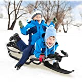 "Goplus Snow Racer Sled, 55"" Ski Sled Slider Board with Textured Grip Handles, Ergonomic Nylon Mesh Seat, for Kids Age 12 & Up"