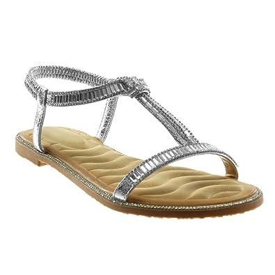 Angkorly Damen Schuhe Sandalen - Strass - Fantasy Blockabsatz 1 cm