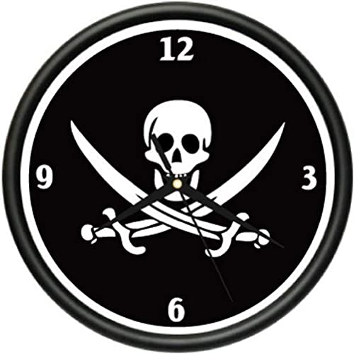 SignMission Wall Clock Jolly Roger Pirates Flag Skull Art, Beagle Dog pet Dogs Puppy Breeder Gift, 1PIRATE