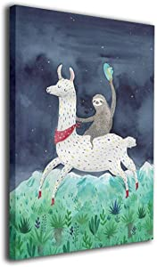 Colla Canvas Wall Art Watercolor Sloth Riding Llama Modern Giclee Print Gallery Wrap Home Decor Ready to Hang 12
