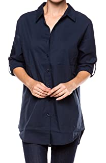 e895b214de24e2 A.S Womens Relaxed Premium Cotton Button Down Blouse Shirts (Oversize)