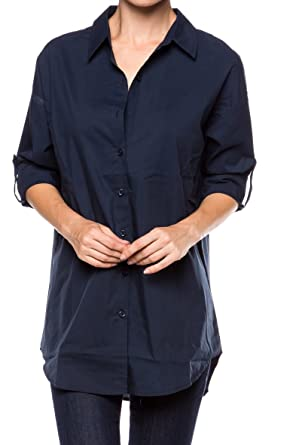 9c9404f96d7 A.S Womens Relaxed Oversize Premium Cotton Button Down Blouse Shirts  (Small