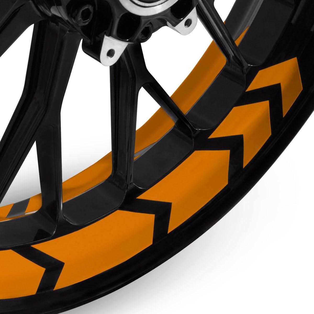 Motoking Felgenbettaufkleber im Racing Arrow Design Farbe /& Breite w/ählbar Komplettset f/ür 16 bis 19