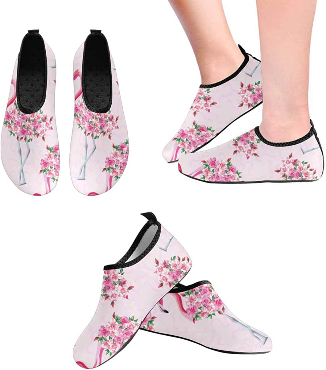 INTERESTPRINT Mens Water Shoes Pink Flamingo Roses Beach Swim Shoes Quick Dry Aqua Socks Pool Shoes