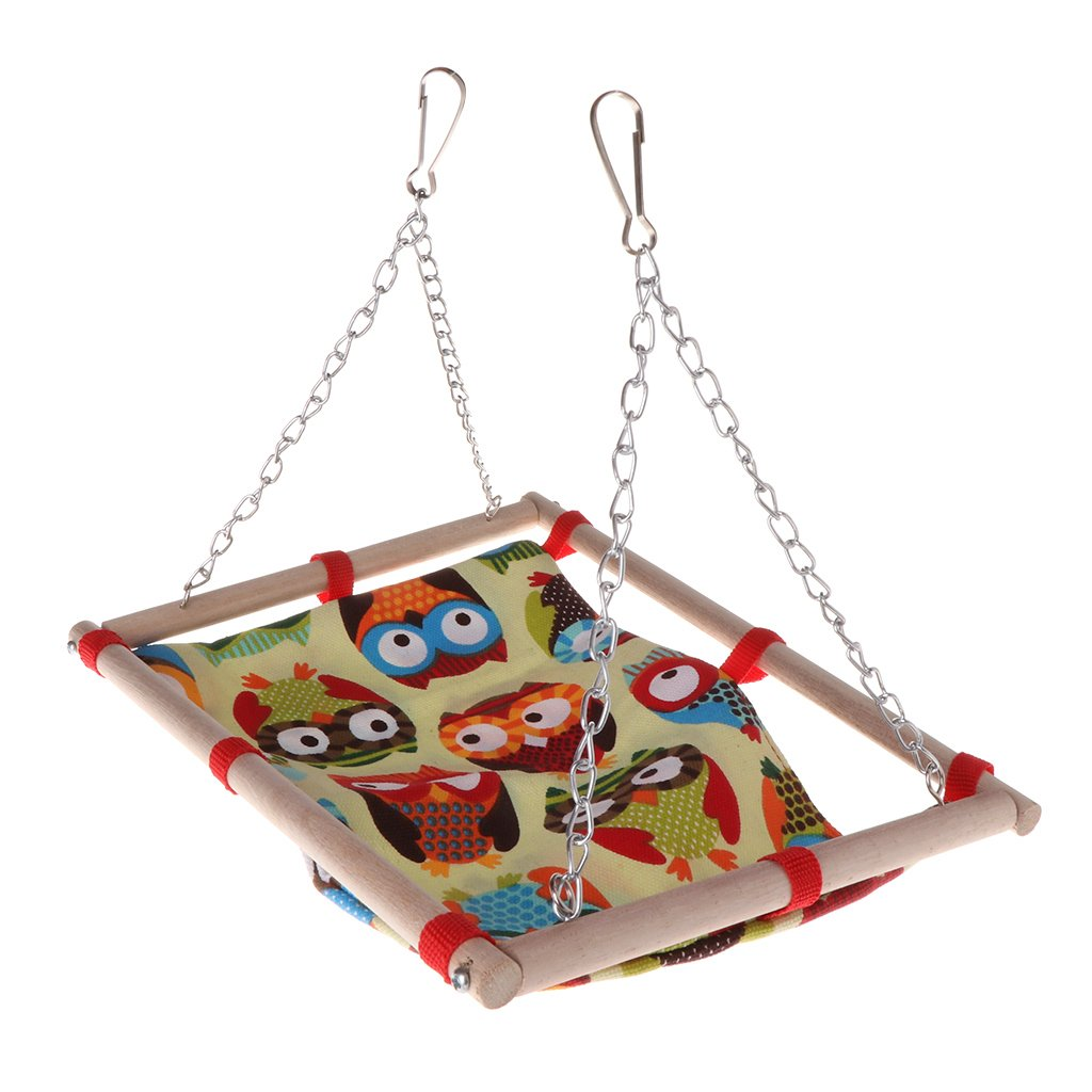 SimpleLife Altalena per Animali Altalena Giocattoli Owl Wood Hanging Cage Parrot Birds Hamster Parrocchetto Bed