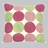 Jubilee Circle Pillow, Pink and Green