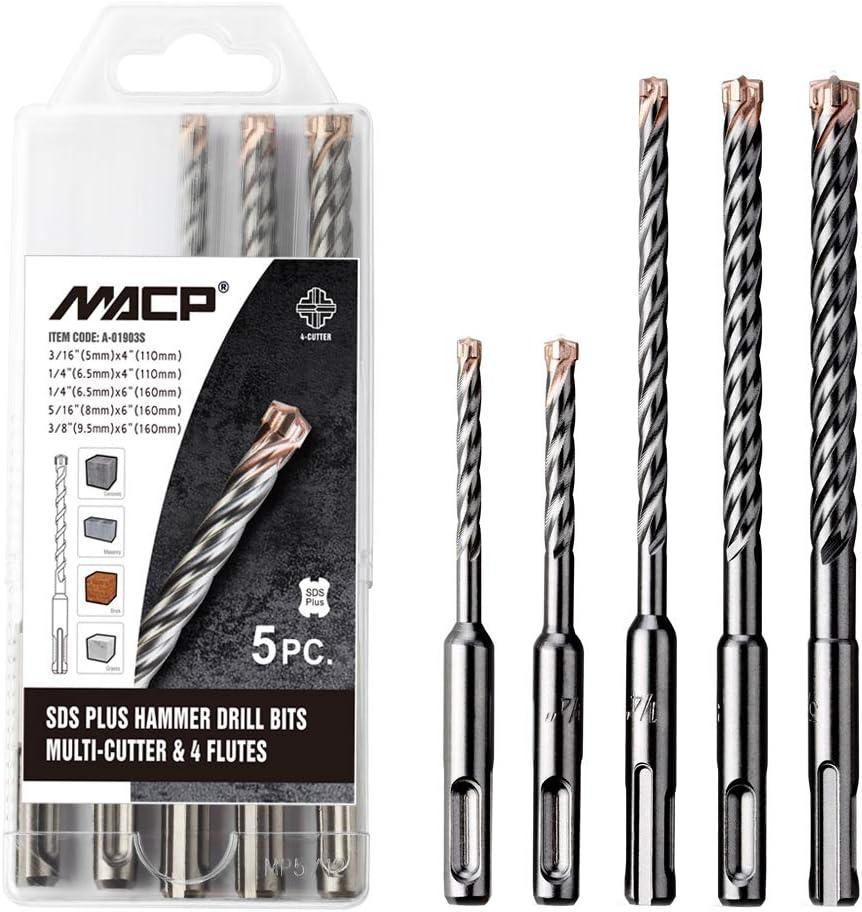 """Qty 5 SDS Rotary Hammer Drill Bits 3//16/"""" x 4 1//4/"""" fit Hilti Bosch DeWalt Mikita"""