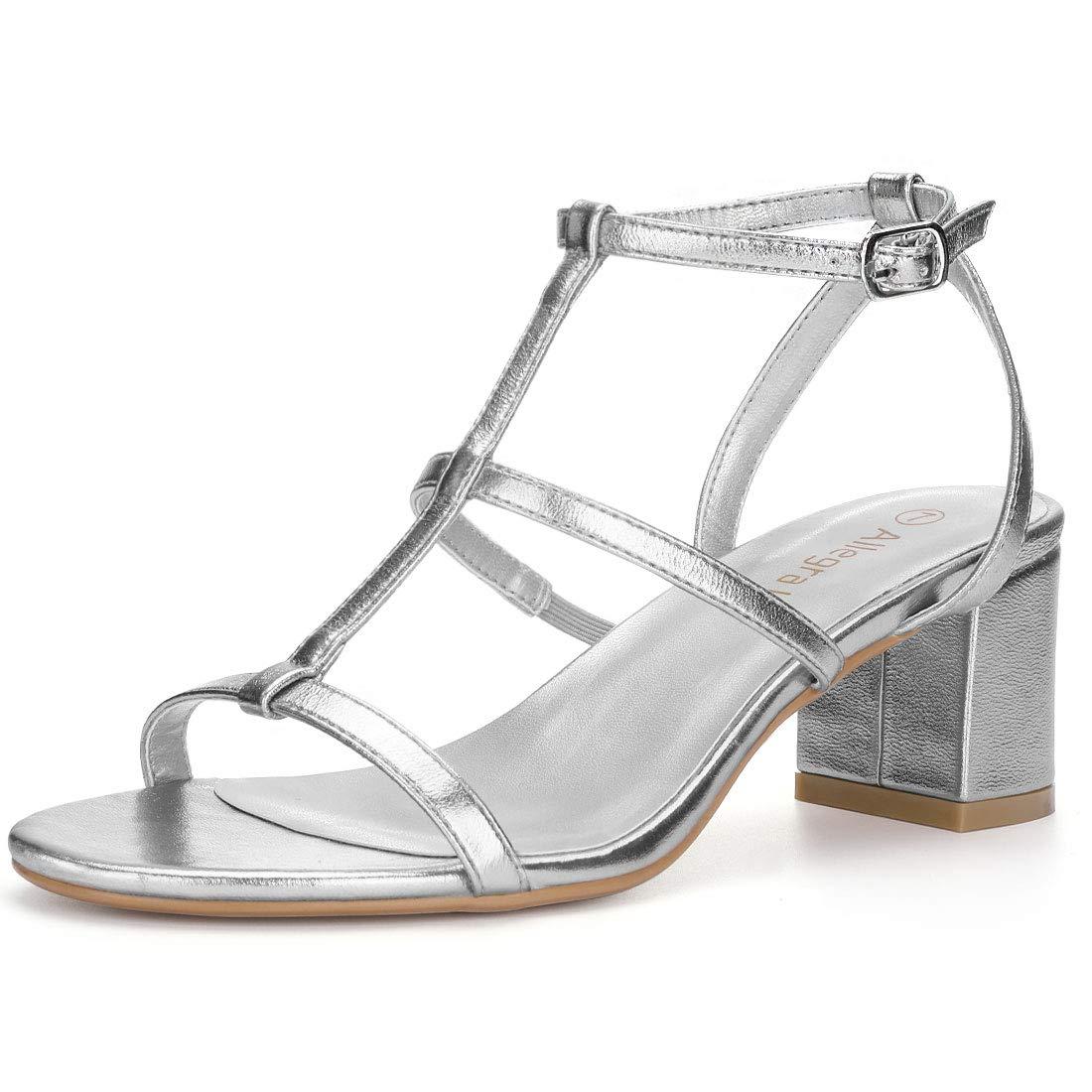Allegra K Women's Open Toe T-Strap Block Heel Silver Sandals - 9 M US